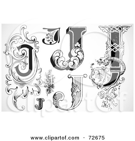 Royalty-Free (RF) Clipart Illustration of a Digital Collage Of Black And White Letters; J - Version 1 by BestVector