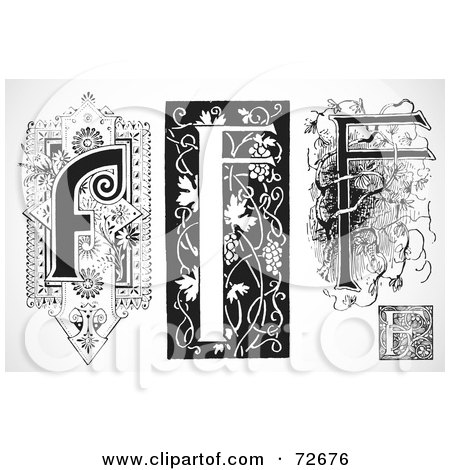 Royalty-Free (RF) Clipart Illustration of a Digital Collage Of Black And White Letters; F - Version 3 by BestVector