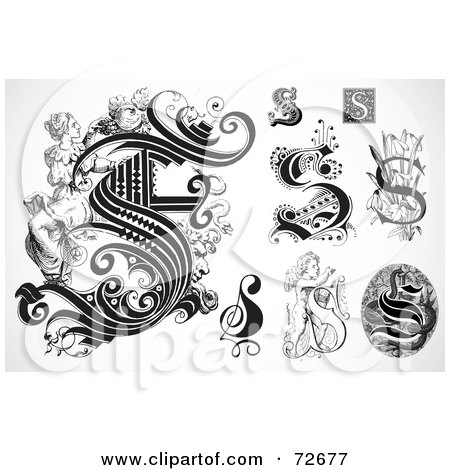 Royalty-Free (RF) Clipart Illustration of a Digital Collage Of Black And White Letters; S - Version 1 by BestVector