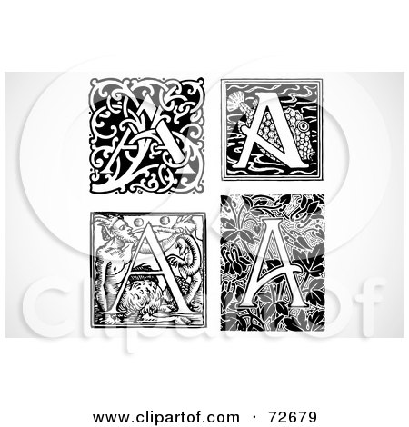 Royalty-Free (RF) Clipart Illustration of a Digital Collage Of Black And White Vintage Letters; A - Version 3 by BestVector