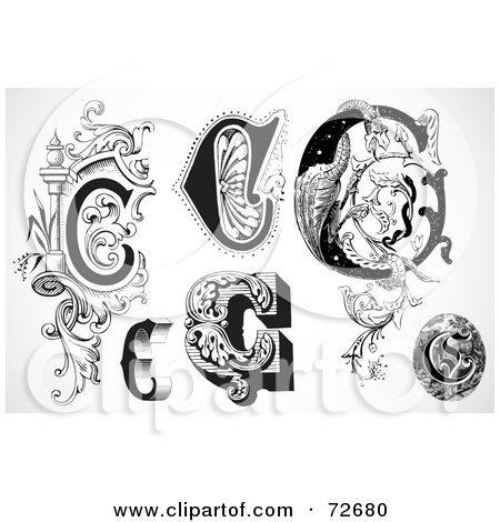 Royalty-Free (RF) Clipart Illustration of a Digital Collage Of Black And White Letters; C - Version 1 by BestVector