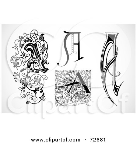Royalty-Free (RF) Clipart Illustration of a Digital Collage Of Black And White Vintage Letters; A - Version 4 by BestVector