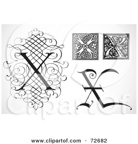 Royalty-Free (RF) Clipart Illustration of a Digital Collage Of Black And White Letters; X - Version 1 by BestVector