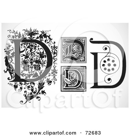 Royalty-Free (RF) Clipart Illustration of a Digital Collage Of Black And White Letters; D - Version 2 by BestVector