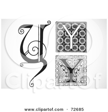 Royalty-Free (RF) Clipart Illustration of a Digital Collage Of Black And White Letters; Y - Version 2 by BestVector