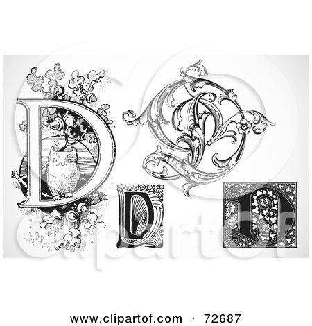 Royalty-Free (RF) Clipart Illustration of a Digital Collage Of Black And White Letters; D - Version 3 by BestVector