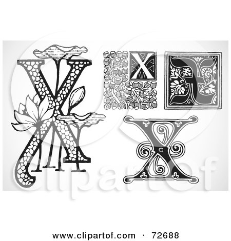 Royalty-Free (RF) Clipart Illustration of a Digital Collage Of Black And White Letters; X - Version 2 by BestVector