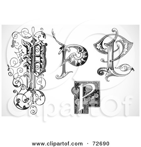 Royalty-Free (RF) Clipart Illustration of a Digital Collage Of Black And White Letters; P - Version 2 by BestVector