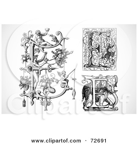 Royalty-Free (RF) Clipart Illustration of a Digital Collage Of Black And White Letters; E - Version 1 by BestVector