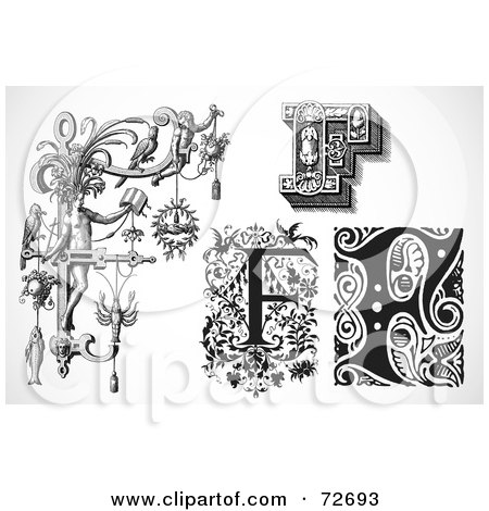 Royalty-Free (RF) Clipart Illustration of a Digital Collage Of Black And White Letters; F - Version 1 by BestVector