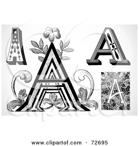 Royalty-Free (RF) Clipart Illustration of a Digital Collage Of Black And White Vintage Letters; A - Version 1 by BestVector