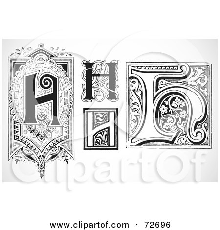 Royalty-Free (RF) Clipart Illustration of a Digital Collage Of Black And White Letters; H - Version 2 by BestVector