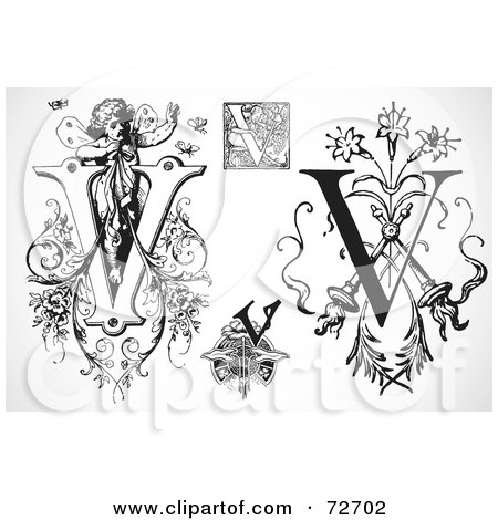 Royalty-Free (RF) Clipart Illustration of a Digital Collage Of Black And White Letters; V - Version 2 by BestVector