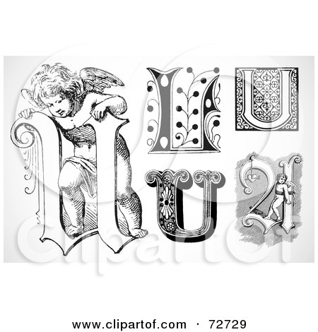 Royalty-Free (RF) Clipart Illustration of a Digital Collage Of Black And White Letters; U - Version 3 by BestVector