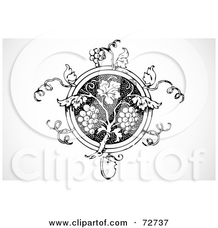 Royalty-Free (RF) Clipart Illustration of a Black And White Ornate Grape Vine Circle Element by BestVector