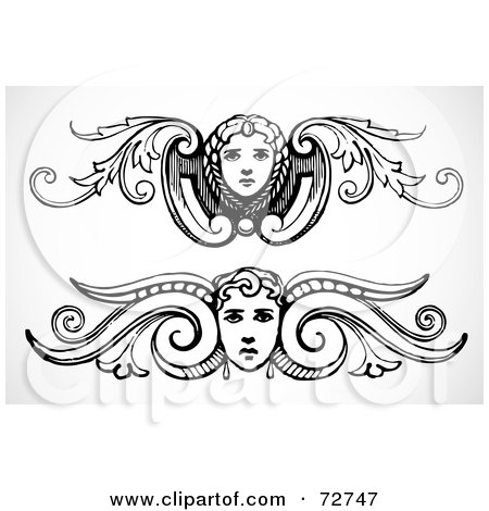 Royalty-Free (RF) Clipart Illustration of a Digital Collage Of Black And White Female Face Border Design Elements - Version 1 by BestVector