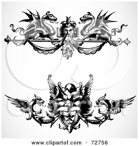 Royalty-Free (RF) Clipart Illustration of a Digital Collage Of Black And White Ornate Dragon Border Design Elements - Version 1 by BestVector