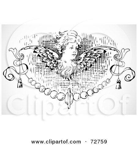 Royalty-Free (RF) Clipart Illustration of a Black And White Angel Border Design Element by BestVector