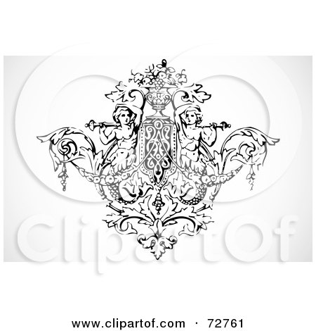Royalty-Free (RF) Clipart Illustration of a Black And White Angel And Floral Element by BestVector