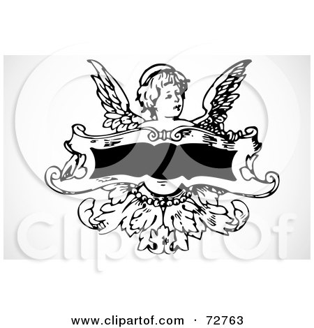 Royalty-Free (RF) Clipart Illustration of a Little Angel Behind A Blank Banner by BestVector