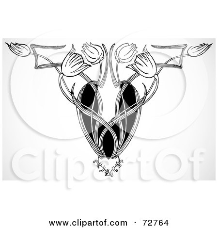 Royalty-Free (RF) Clipart Illustration of a Black And White Decor Tulip Ornamental Design by BestVector