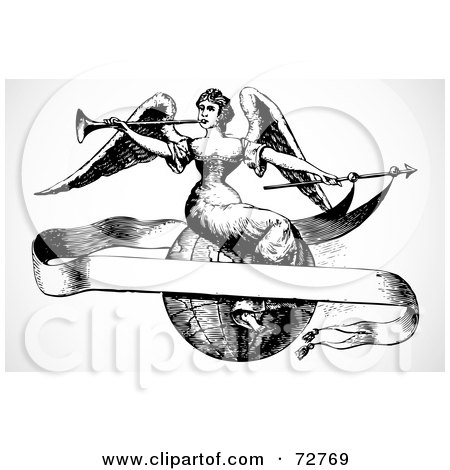 Royalty-Free (RF) Clipart Illustration of a Black And White Vintage Angel Sitting On A Globe With A Blank Banner by BestVector