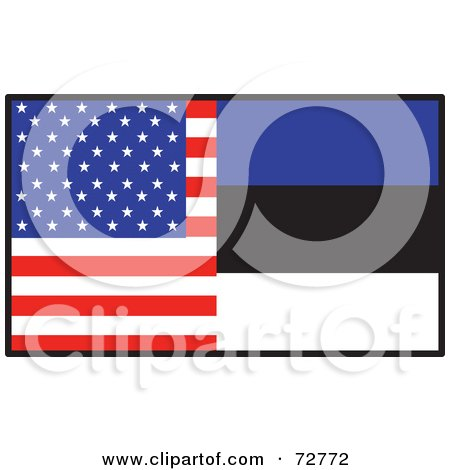 Royalty-Free (RF) Clipart Illustration of a Half American, Half Estonia Flag by Maria Bell