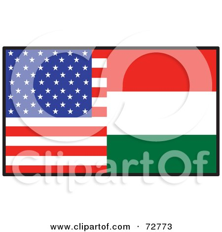Royalty-Free (RF) Clipart Illustration of a Half American, Half Hungary Flag by Maria Bell