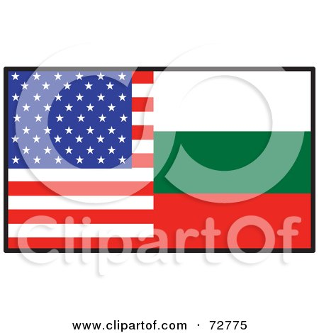 Royalty-Free (RF) Clipart Illustration of a Half American, Half Bulgaria Flag by Maria Bell
