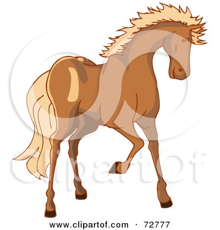 Royalty-Free (RF) Clipart Illustration of a Brown Horse With A Blond Mane by Bad Apples