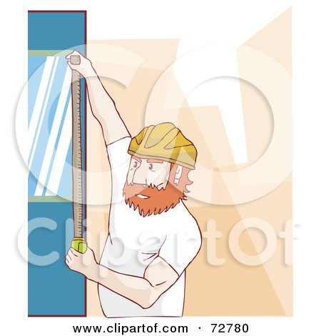 Royalty-Free (RF) Clipart Illustration of a Construction Worker Measuring A Wall by Bad Apples