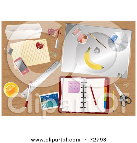 Royalty-Free (RF) Clipart Illustration of a Cluttered Wooden Desk Top With A Planner, Touch Phone And Other Office Supplies by Eugene