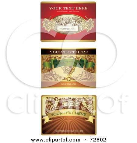 Royalty-Free (RF) Clipart Illustration of a Digital Collage Of Elegant Wine Labels With Sample Text by Eugene