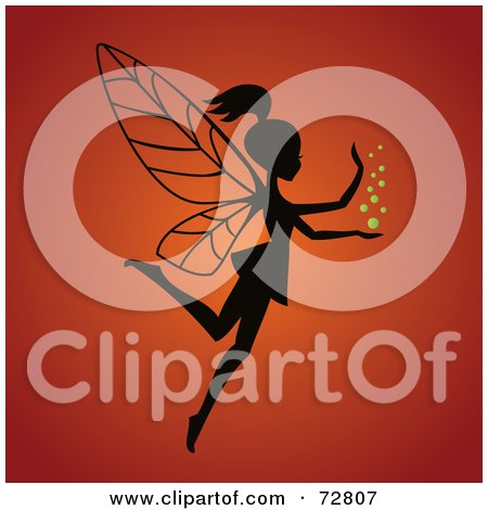 Royalty-Free (RF) Clipart Illustration of a Silhouetted Fairy With Magic Dust Over Orange by Eugene