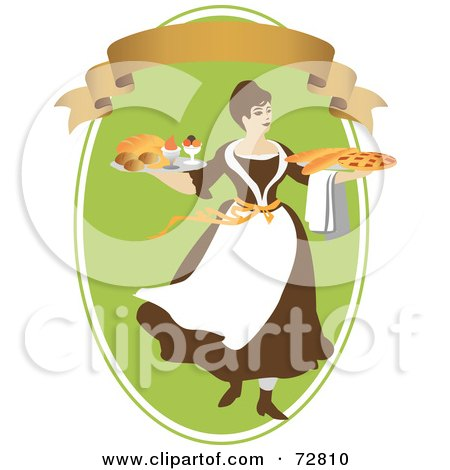 Royalty-Free (RF) Clipart Illustration of a Woman Carrying Breads And Pie On Platters Over A Green Oval With A Blank Banner by Eugene