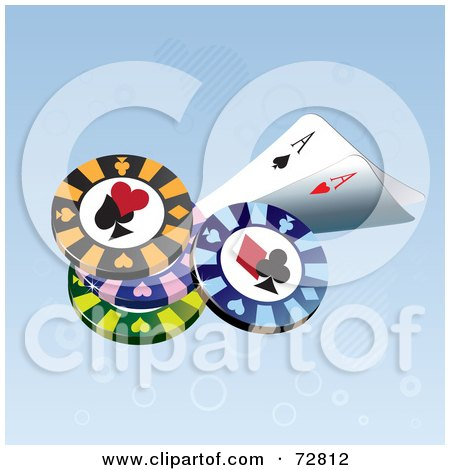 Royalty-Free (RF) Clipart Illustration of Ace Playing Cards With Poker Chips by Eugene