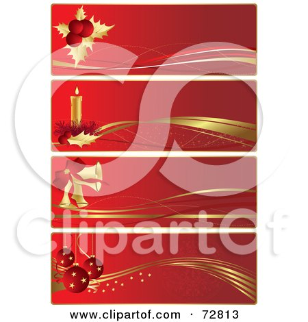 Royalty-Free (RF) Clipart Illustration of a Digital Collage Of Four Red And Gold Christmas Banners by Eugene