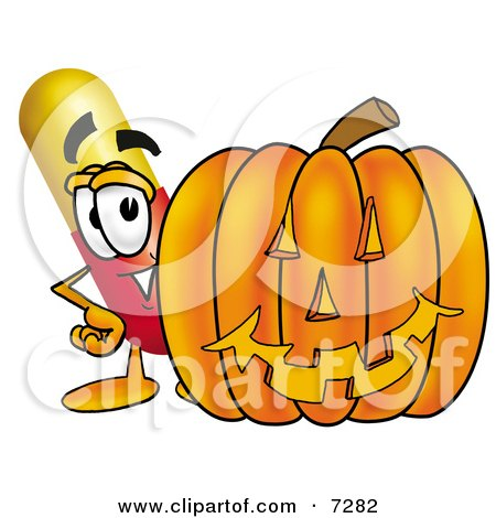 Clipart Picture of a Medicine Pill Capsule Mascot Cartoon Character With a Carved Halloween Pumpkin by Toons4Biz