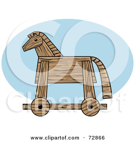 Royalty-Free (RF) Clipart Illustration of a Wooden Trojan Horse In Profile by r formidable