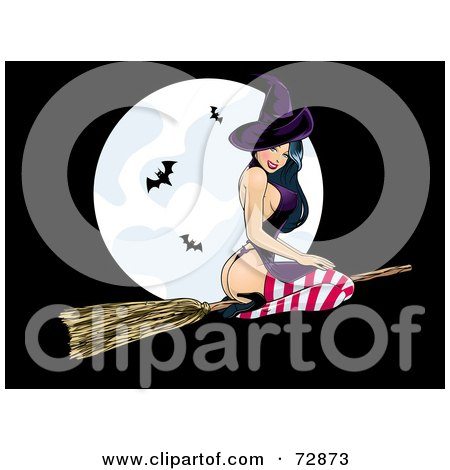 Royalty-Free (RF) Clipart Illustration of a Sexy Pinup Witch Woman Flying In Front Of A Full Moon With Bats by r formidable