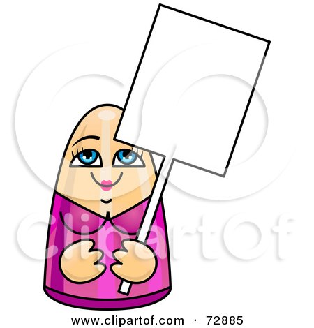Royalty-Free (RF) Clipart Illustration of a Female Doll Holding A Blank White Sign by r formidable