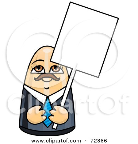 Royalty-Free (RF) Clipart Illustration of a Male Doll Holding A Blank White Sign by r formidable