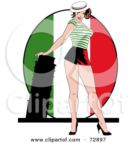 Royalty-Free (RF) Clipart Illustration of a Sexy Pinup Woman Standing In Front Of An Italian Flag And Tower Of Pisa by r formidable