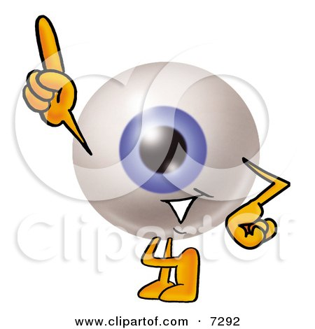 Clipart Picture of an Eyeball Mascot Cartoon Character Pointing Upwards by Toons4Biz