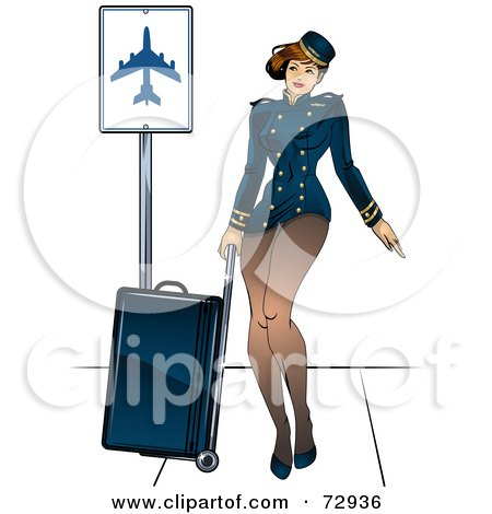Royalty-Free (RF) Clipart Illustration of a Sexy Pinup Stewardess Woman Pulling Luggage by r formidable