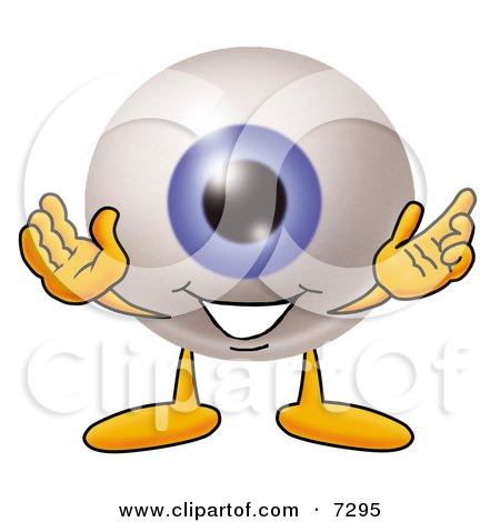 Clipart Picture of an Eyeball Mascot Cartoon Character With Welcoming Open Arms by Toons4Biz