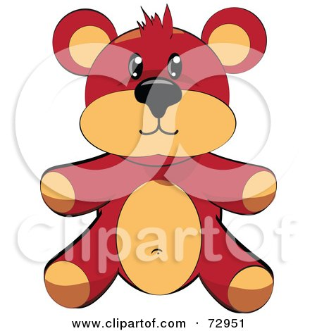 Royalty-Free (RF) Clipart Illustration of a Dark Brown And Tan Teddy Bear Sitting Up by MacX
