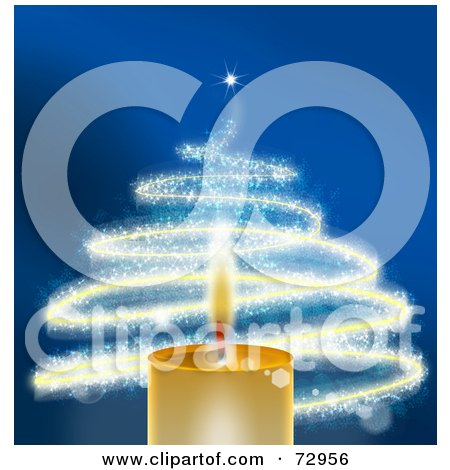 Royalty-Free (RF) Clipart Illustration of a Golden Christmas Candle With A Sparkly Christmas Tree Over Blue by MacX