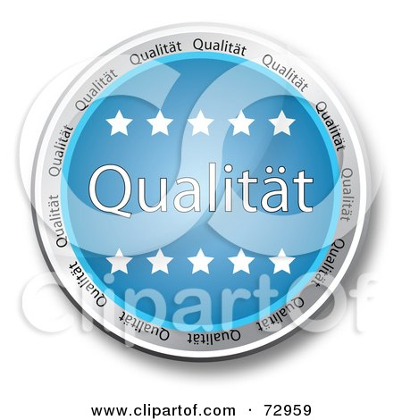 Royalty-Free (RF) Clipart Illustration of a Blue Qualitat Button With Stars by MacX