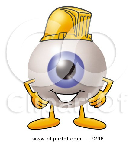 Clipart Picture of an Eyeball Mascot Cartoon Character Wearing a Helmet by Toons4Biz
